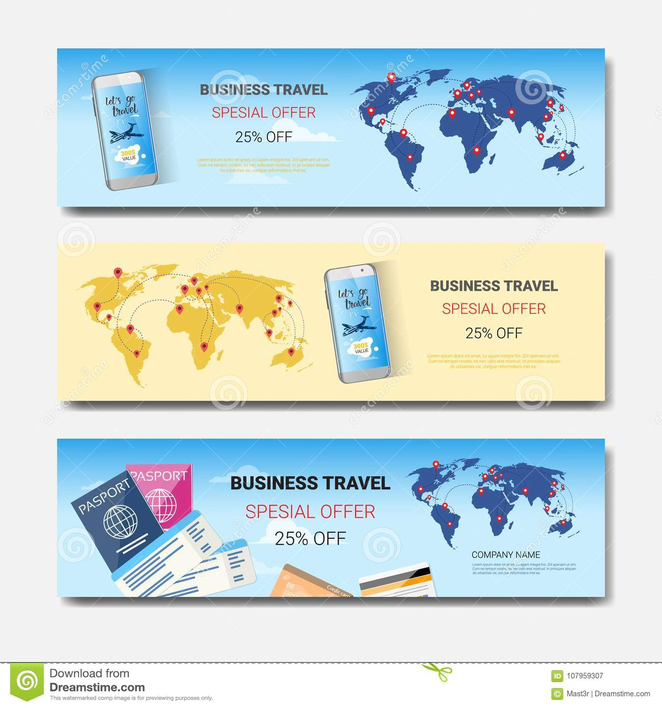 business travel special offer set of template horizontal banners