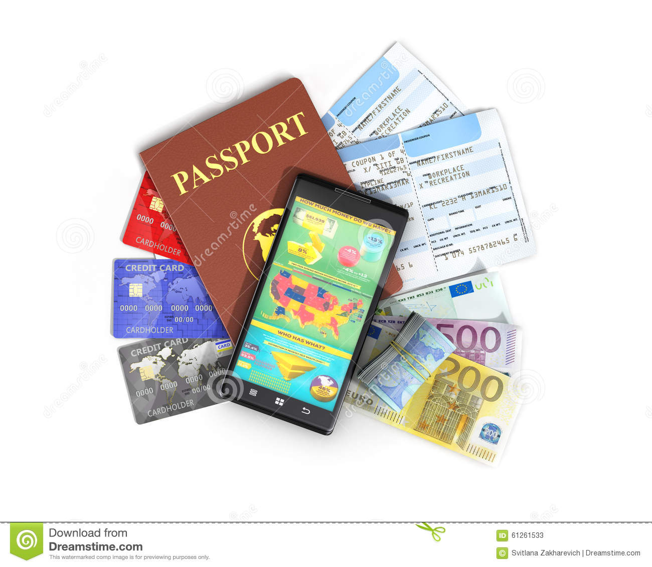 Business Travel And Tourism Concept Air Tickets Stock Image