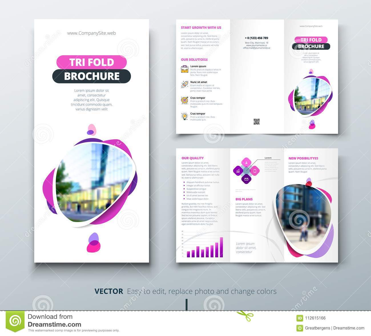 business tri fold brochure design pink purple template for tri