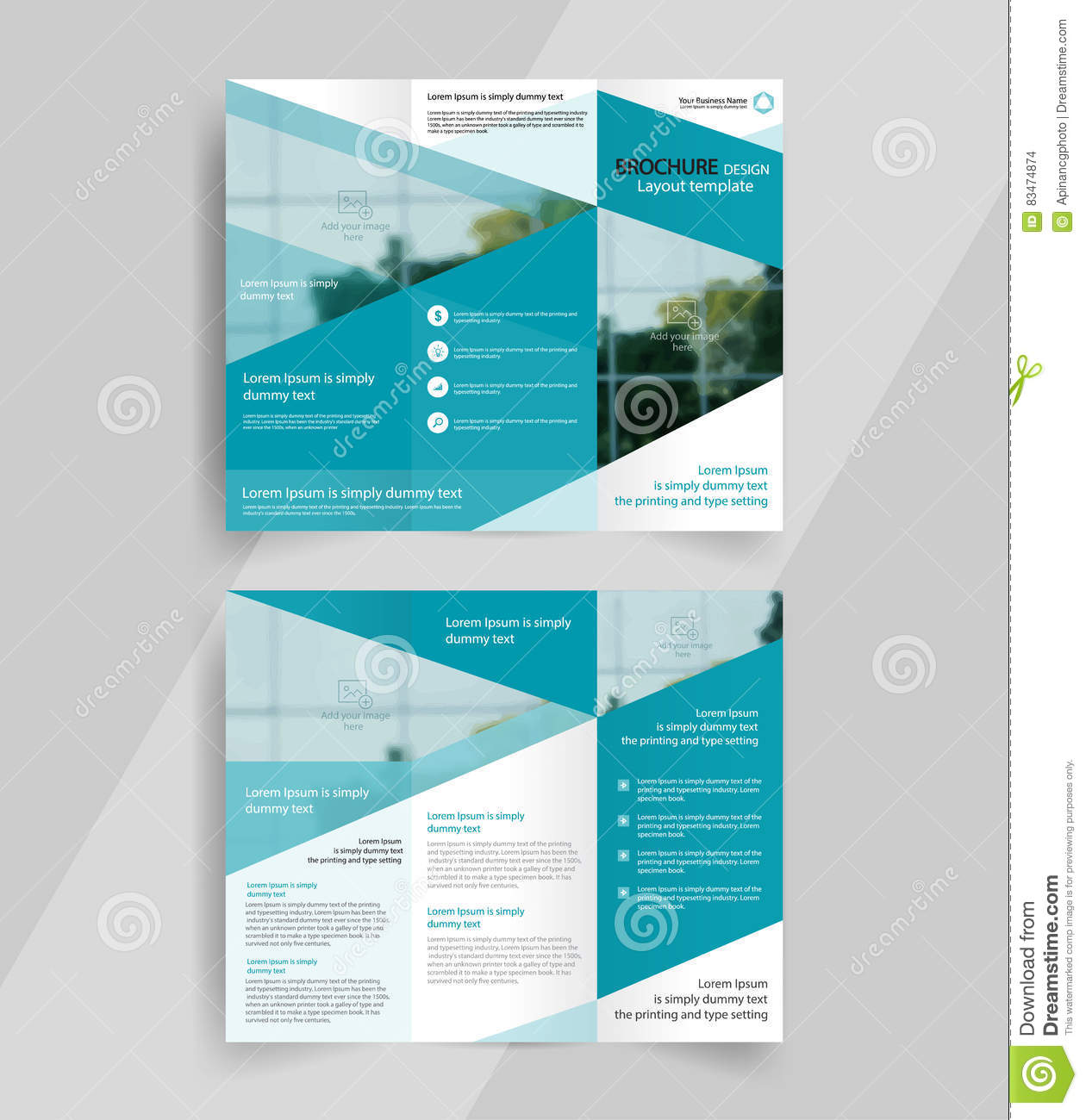 business tri fold brochure layout design emplate stock vector
