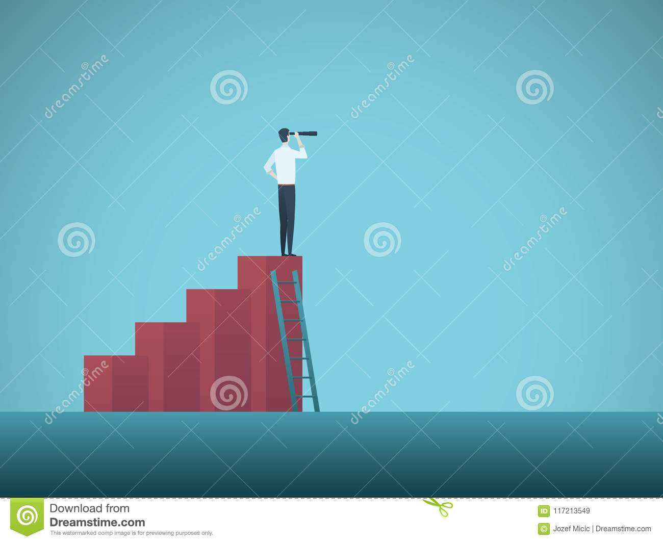 Business Vision Vector Concept With Businessman Standing On Top Of