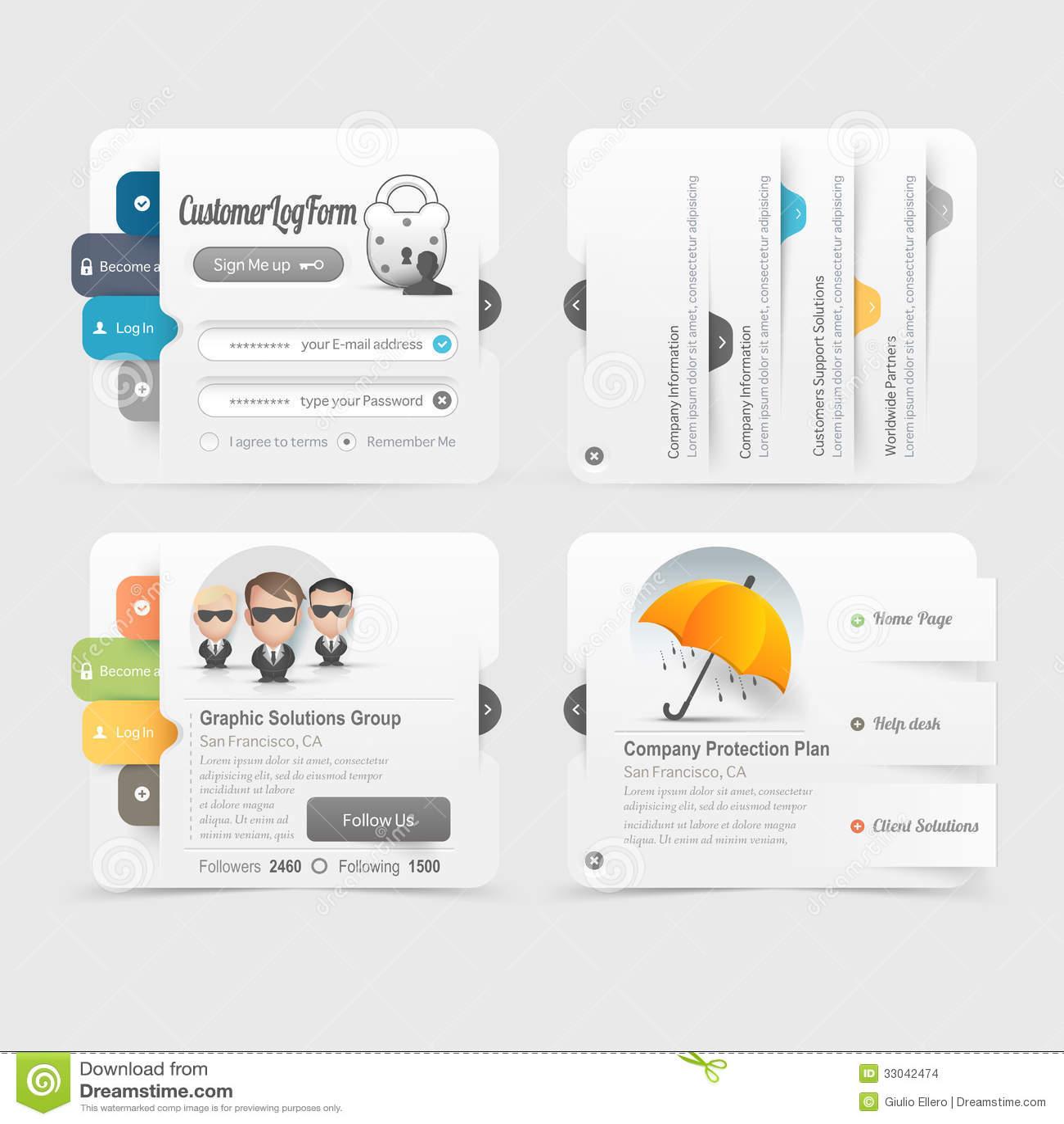 Business Web Site Template Design Menu Navigation Elements With