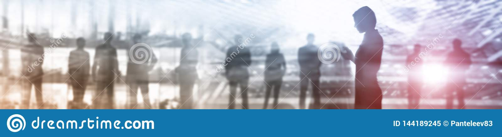 Business Website Banner Header. Industry background mixed media. People silhouettes. Abstract concept.