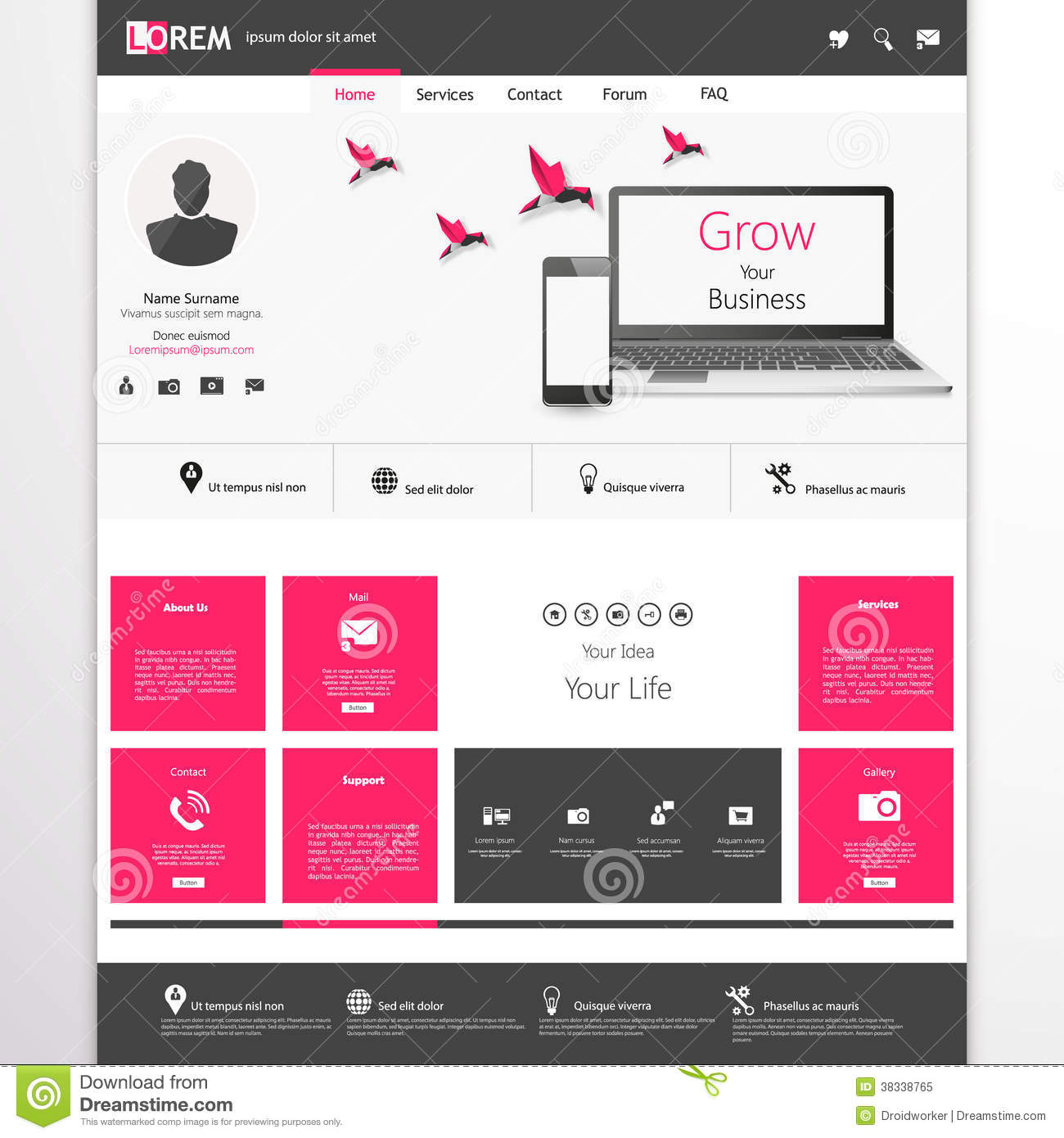Business website template home page design clean and for Home design website free