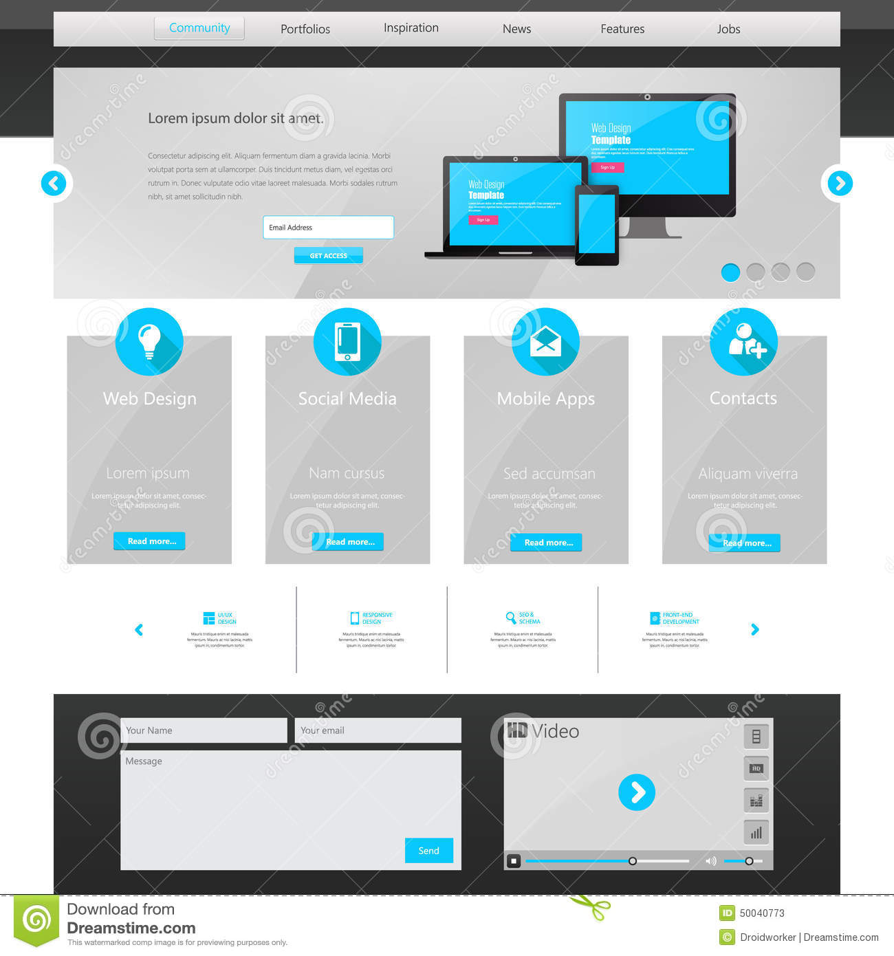 Business website template home page design clean and simple vector illustration stock - Website for home design ...