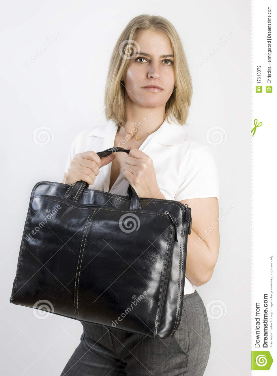 Business woman with aback bag in her hands.