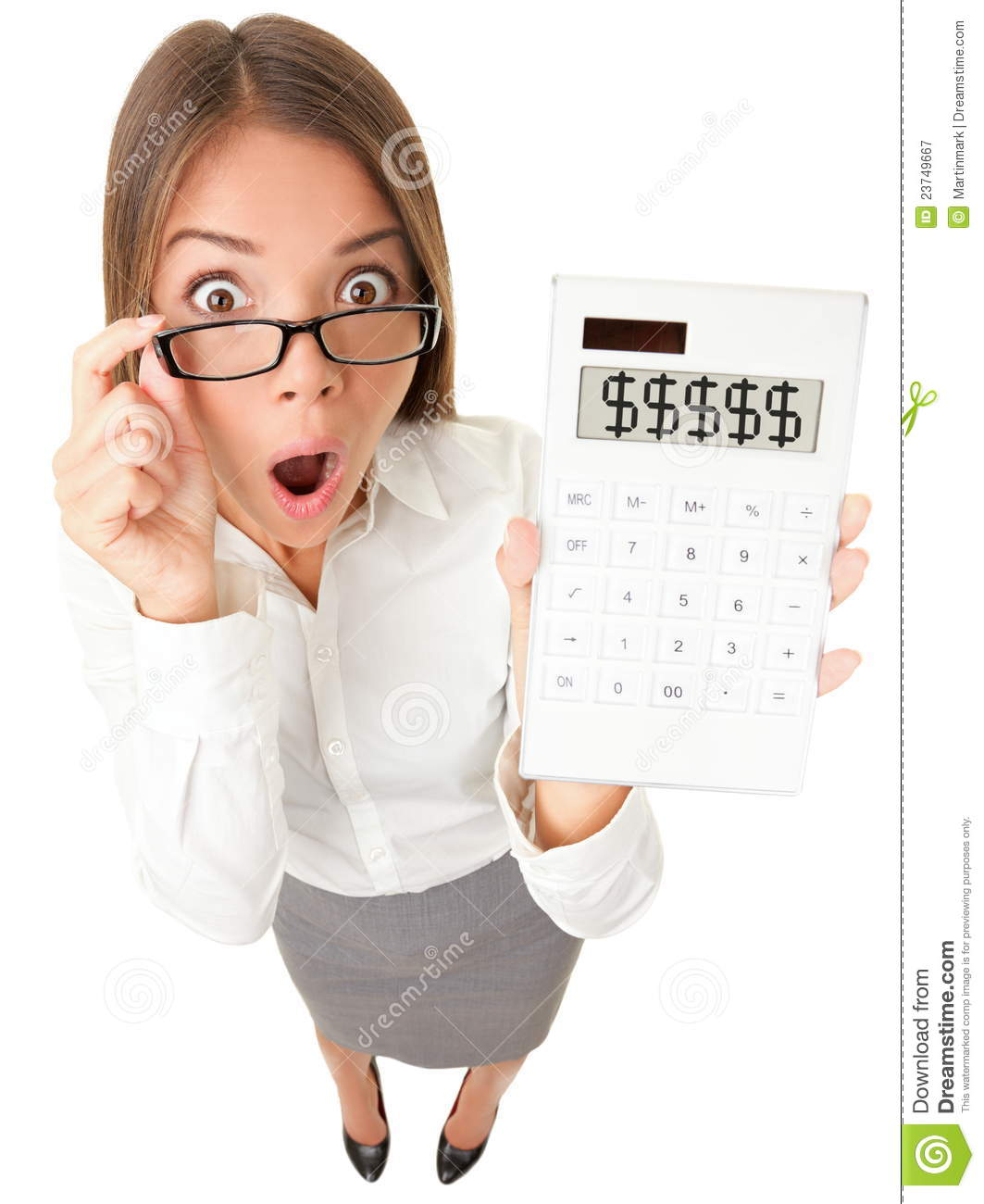 Business Woman Accountant Shocked Royalty Free Stock ...