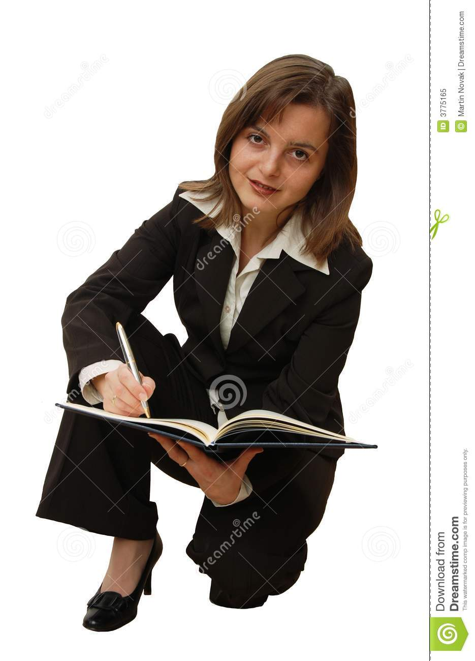 Business woman in action stock image. Image of diary