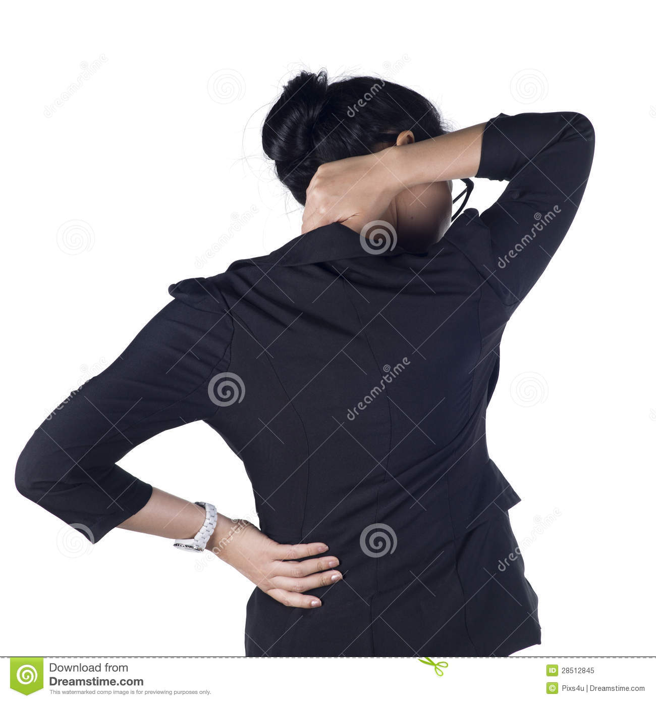 Woman with back pain stock photo. Image of brown