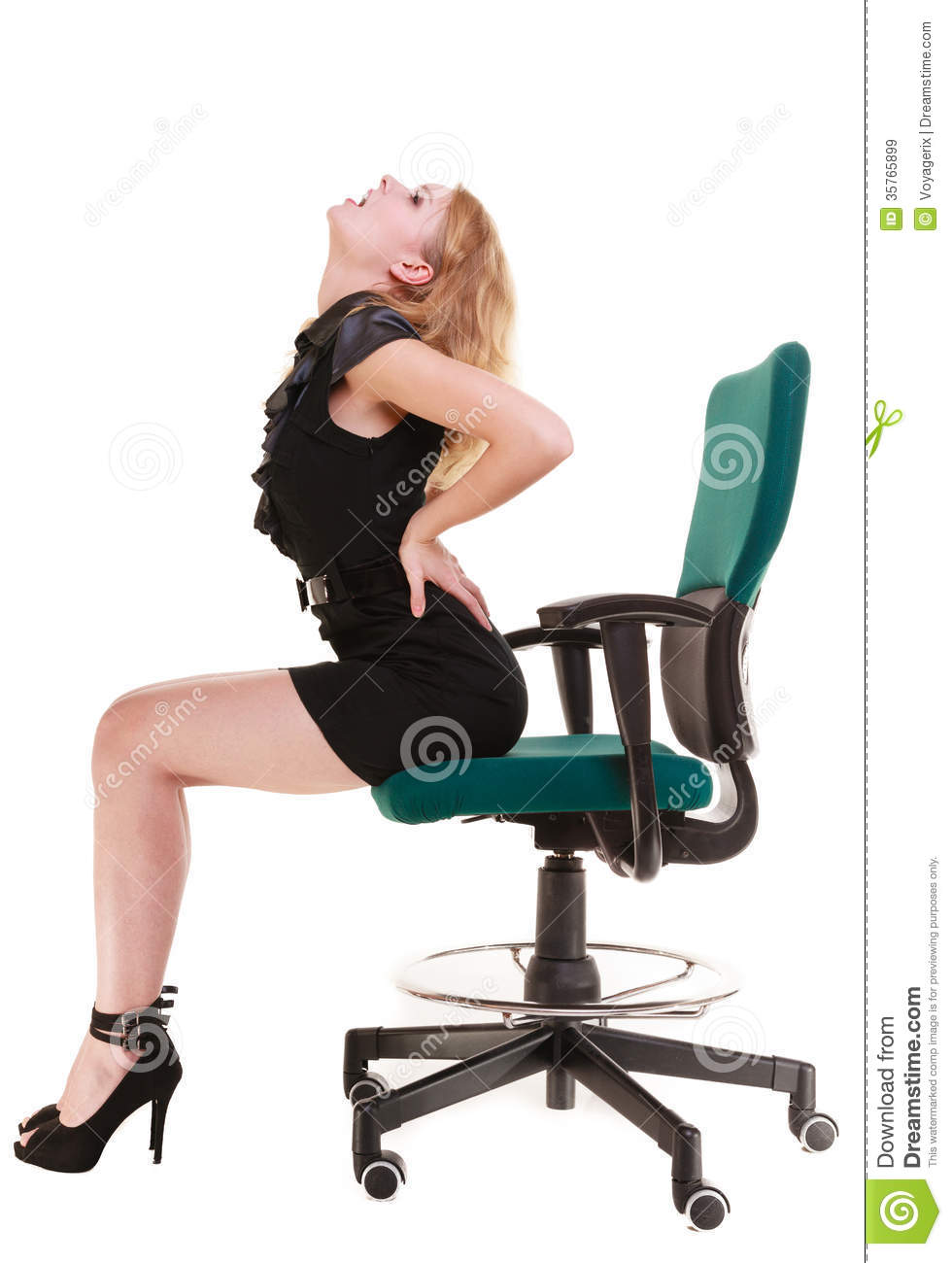 Business Woman Backache Back Pain Sitting On Chair Long