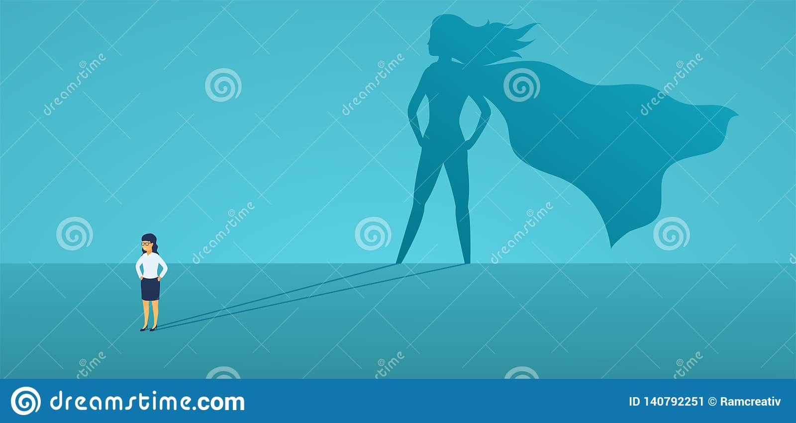 Business woman with big shadow superhero. Super manager leader in business. Concept of success, quality of leadership.