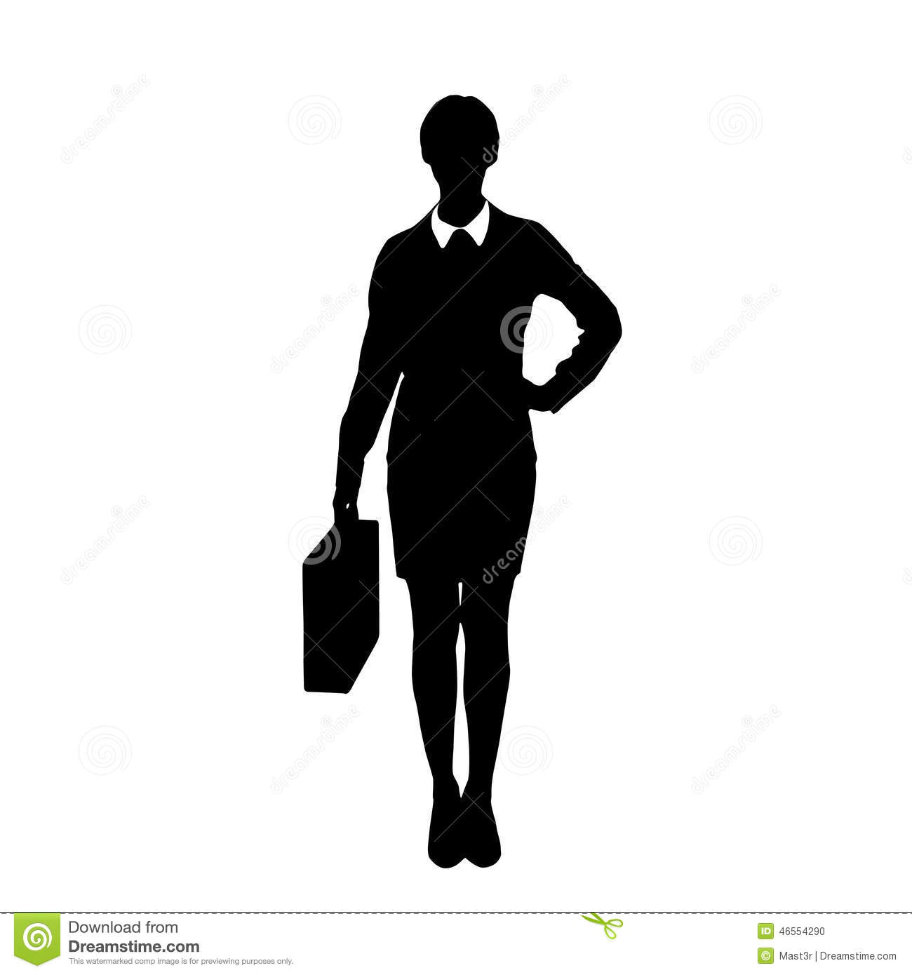 Business Woman Black Silhouette Hold Briefcase Vector ...