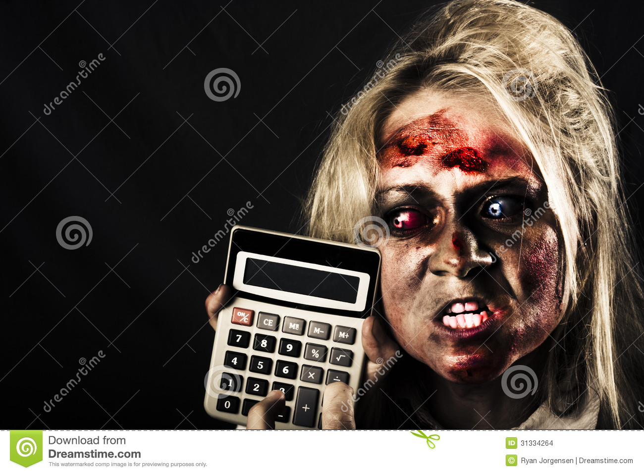 business woman with calculator halloween sale stock photo image