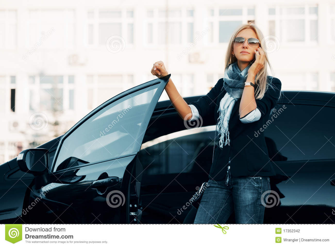 Fashion Business Woman In Sunglasses Calling On Phone Next