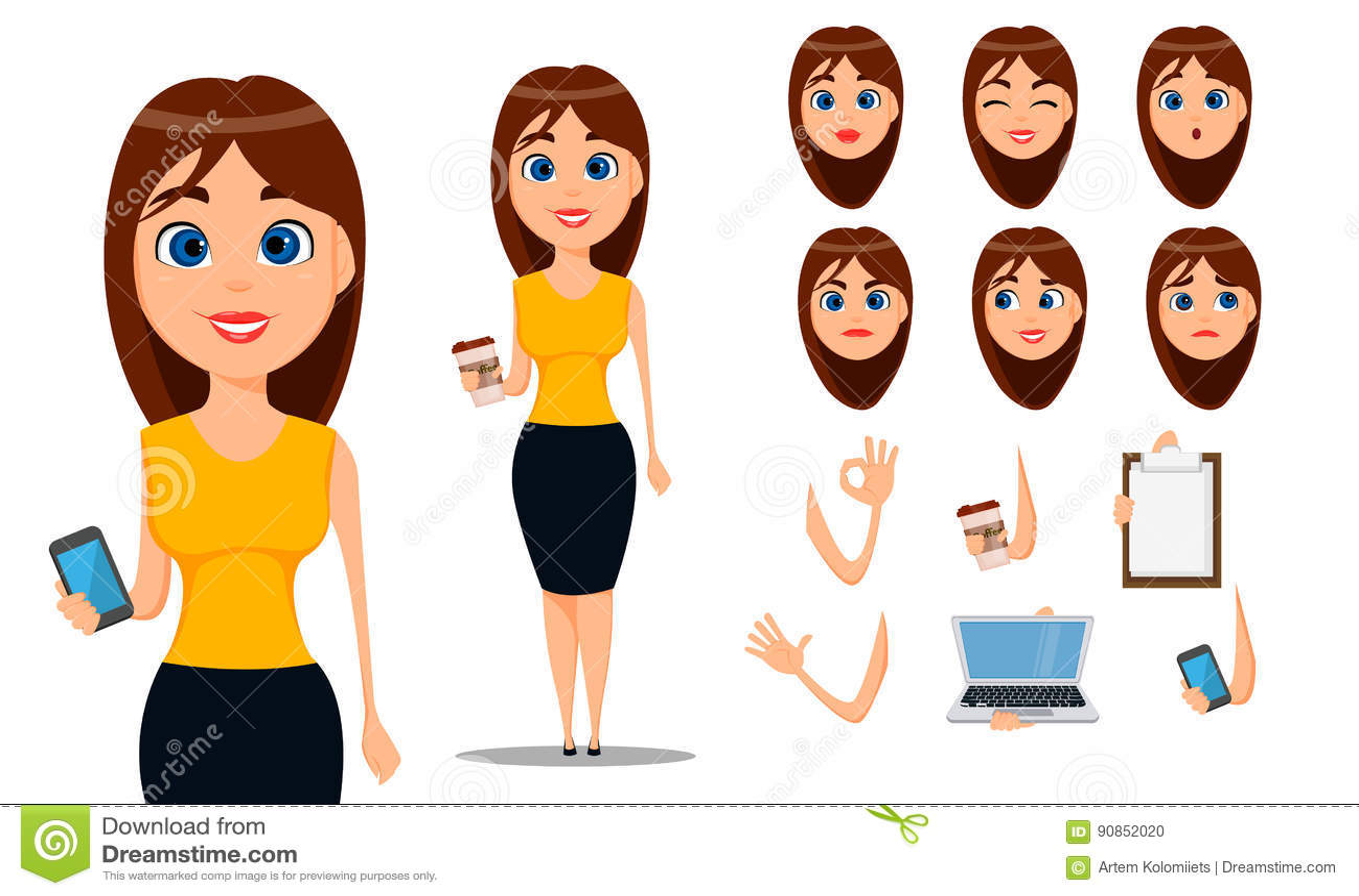 Businesswoman Creation Set Build Your Character Vector