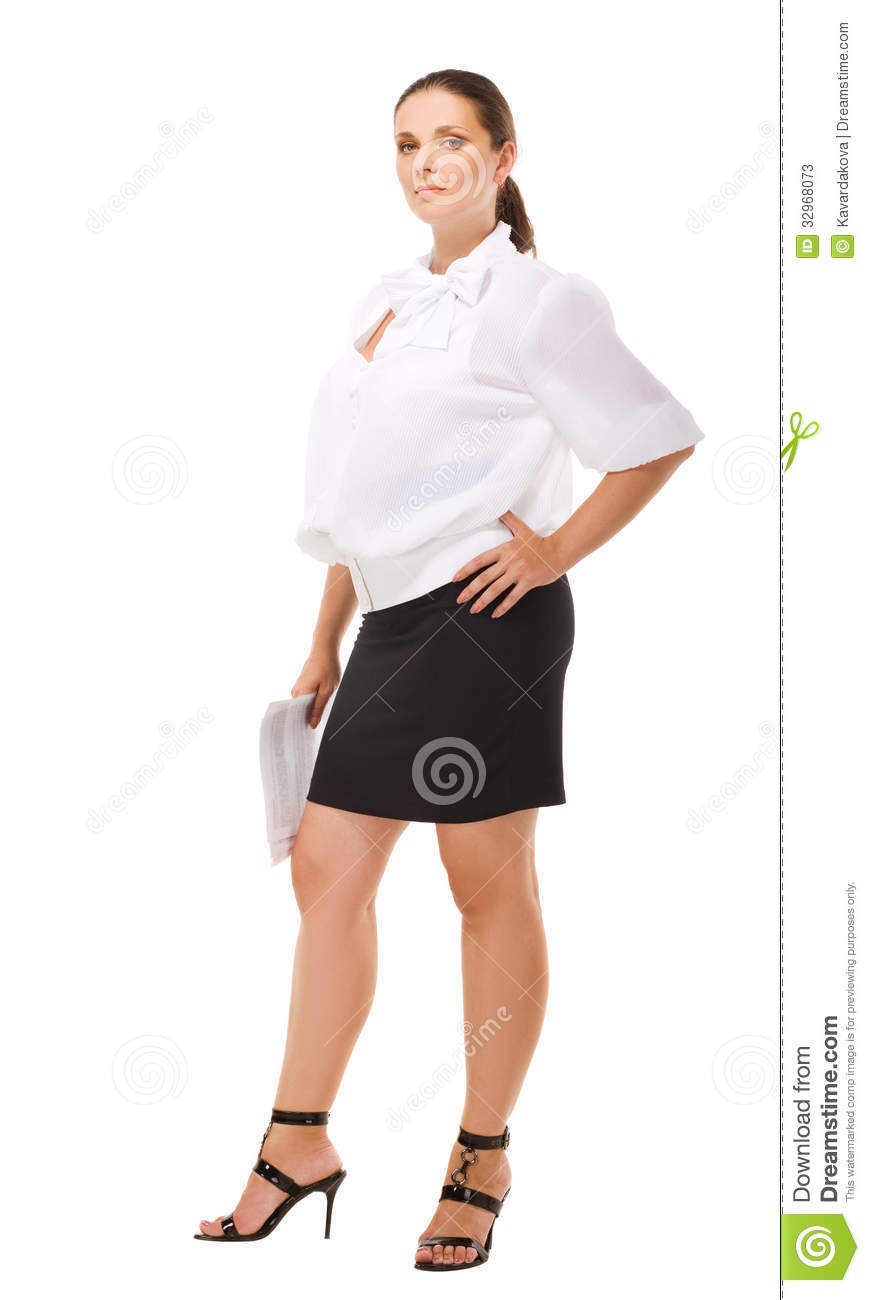 Business woman in casual clothes on white background