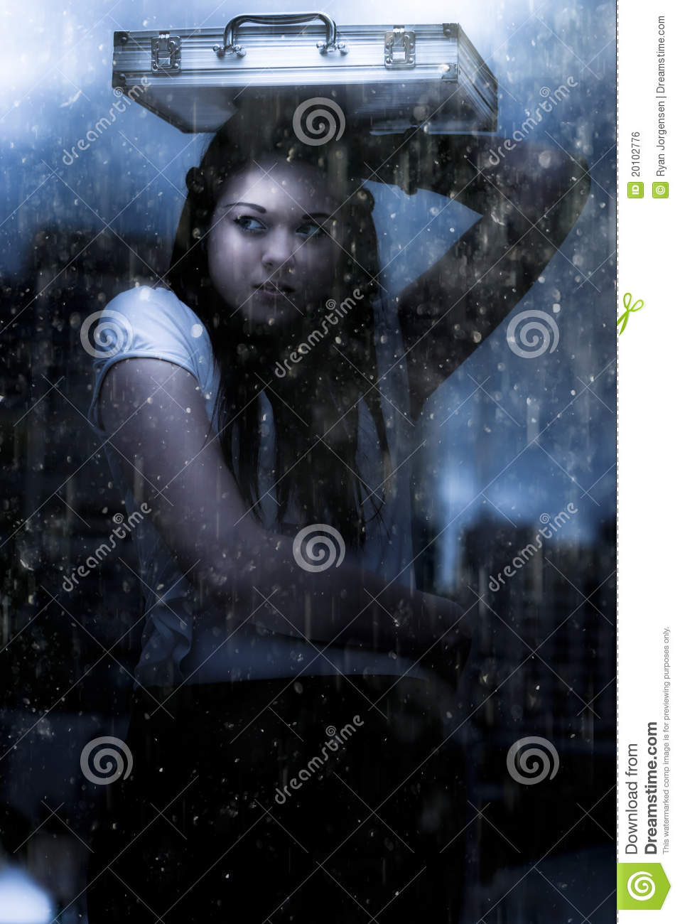 Business Woman Caught In Rain And Bad Weather Stock Photo ...