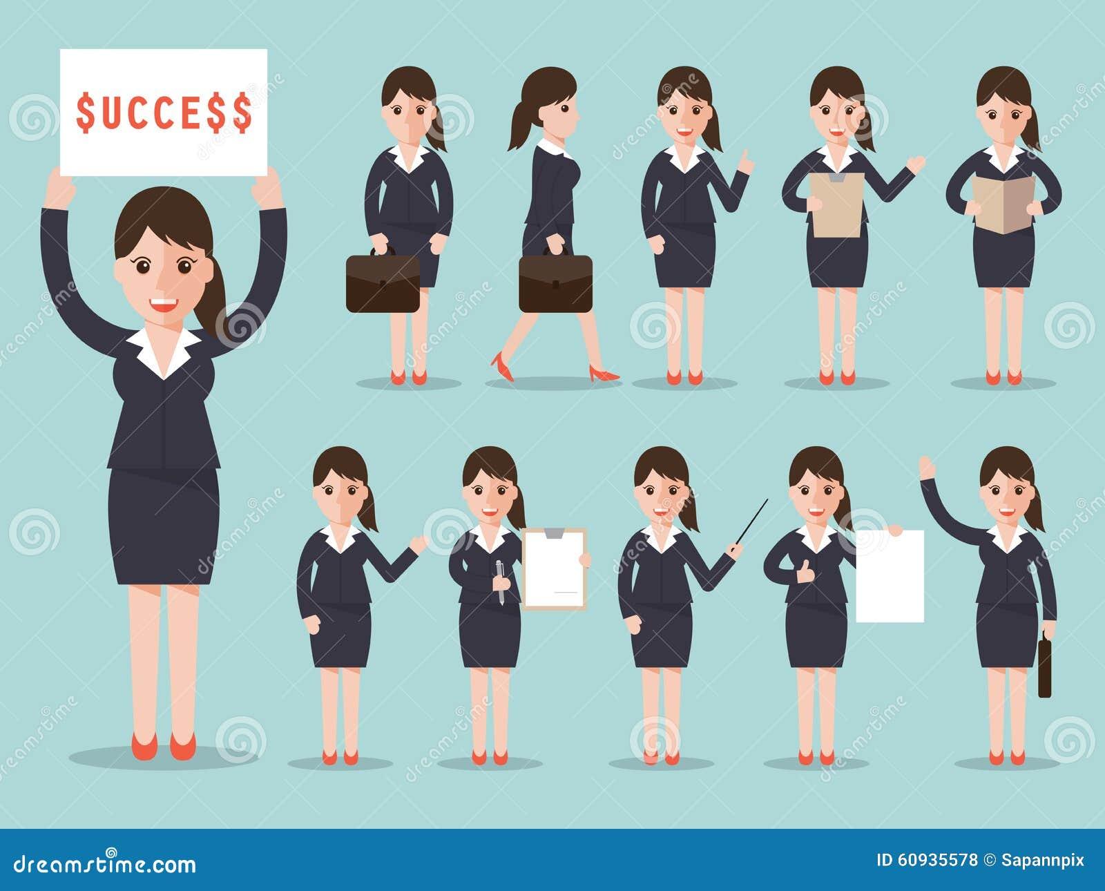 Character Design Set : Business woman character set stock vector image