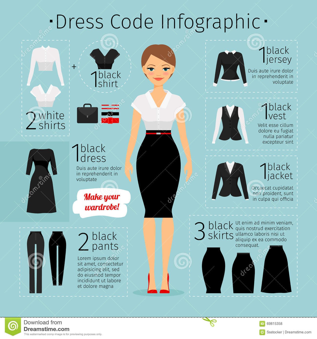 Business Woman Clothes Infographics Stock Vector