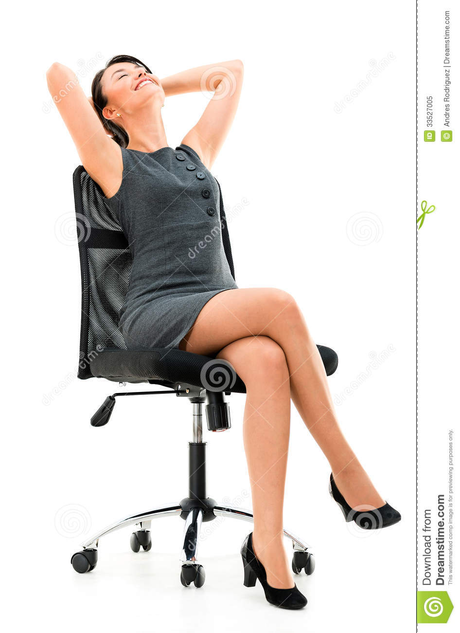 Business woman in a comfortable chair royalty free stock for Sitting easy chairs