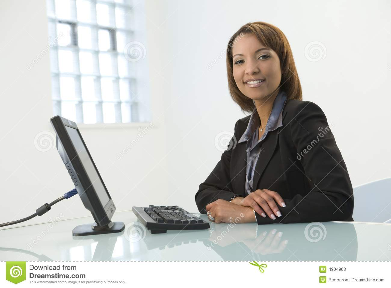 Business Woman With Computer Stock Image Image 4904903