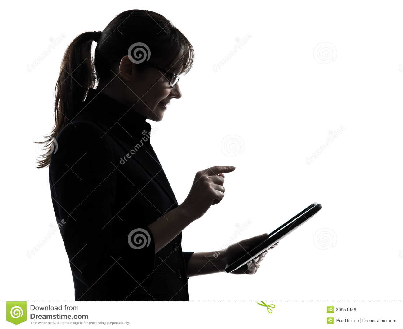 Business Woman Computer Computing Typing Digital Tablet ...