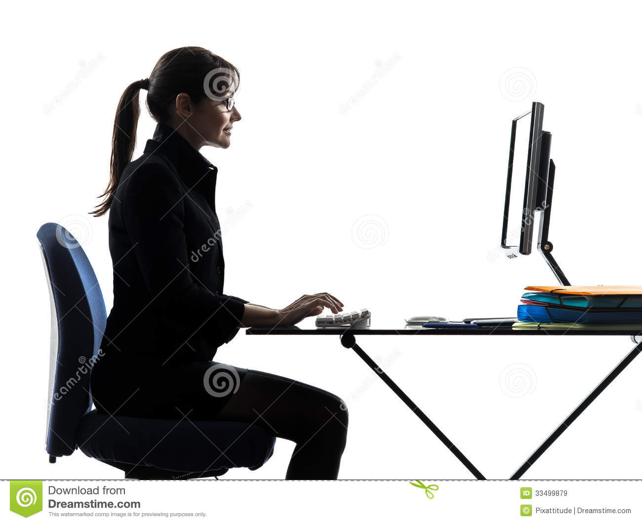 Business Woman Computer Computing Typing Silhouette ...