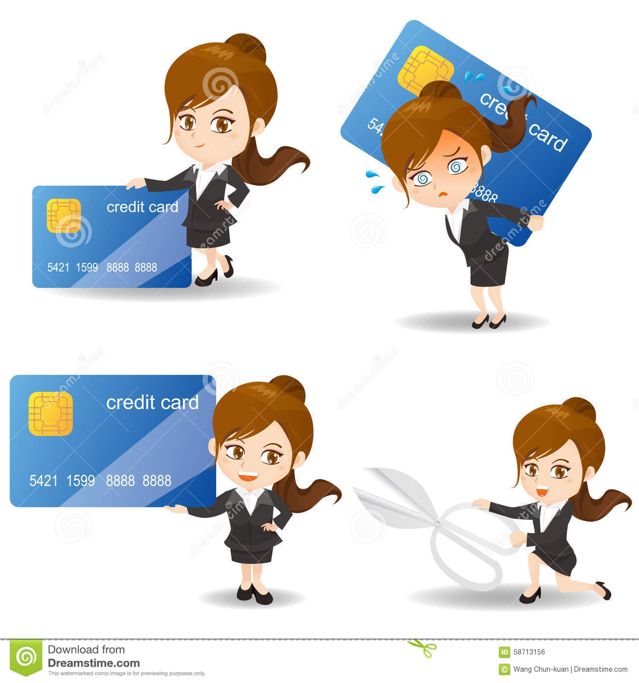 Business woman with credit card stock vector illustration of business woman with credit card reheart Image collections