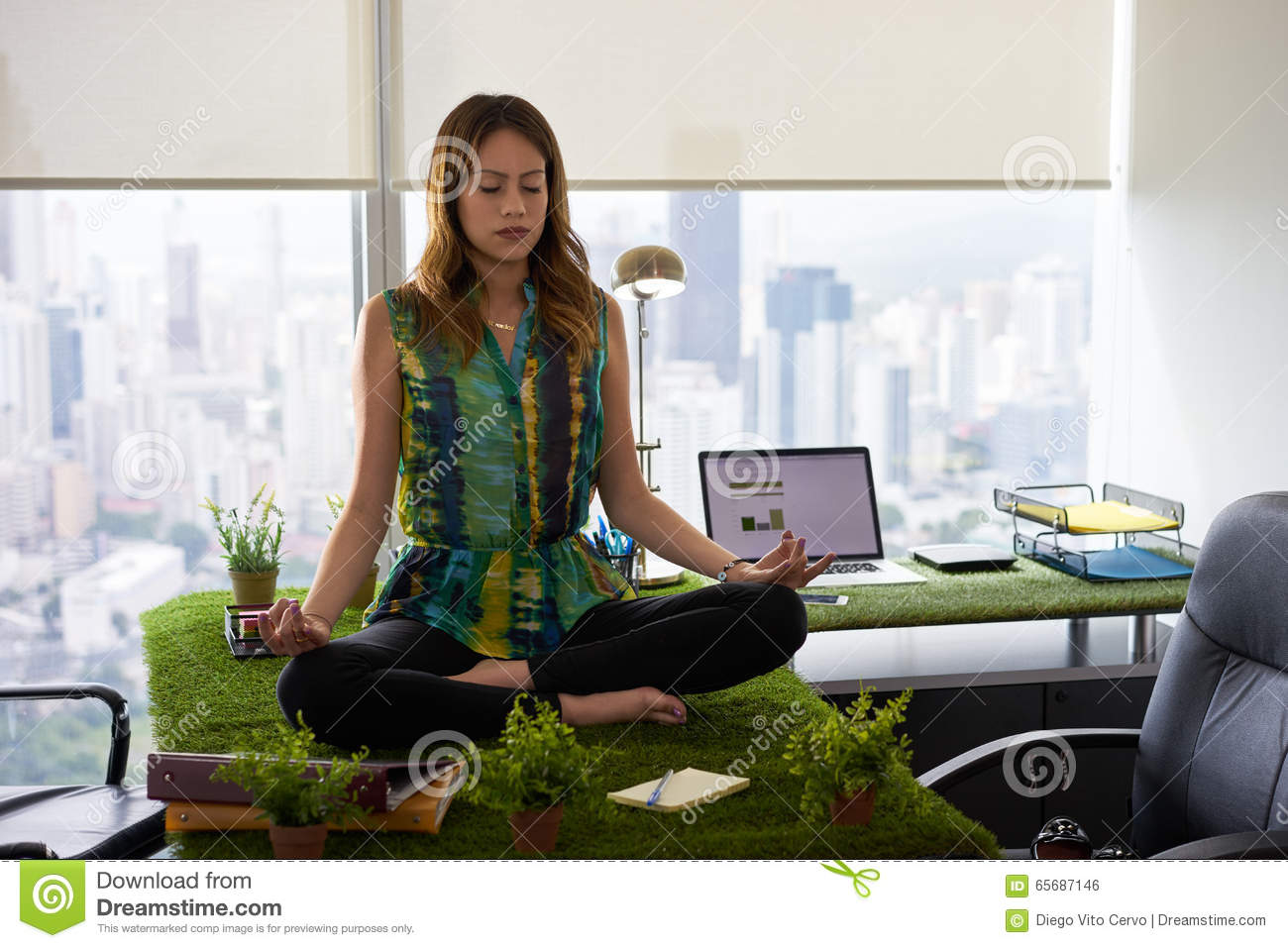 woman office furniture. Business Woman Doing Yoga Meditation On Table In Office-2 Office Furniture