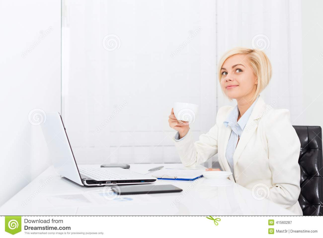 Business Woman Drink Coffee At Office Desk Stock Image ...