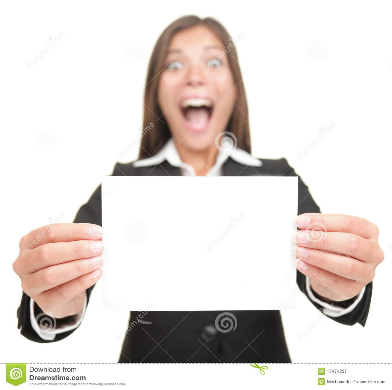 business woman excited holding blank sign card royalty free stock photography