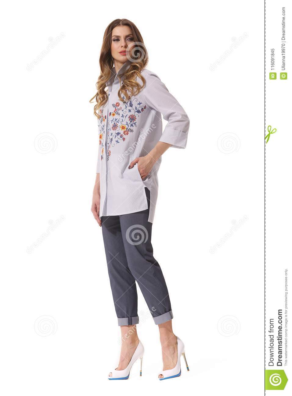 a429addec9a Business Woman Executive Posing In Casual Clothes Stock Image ...