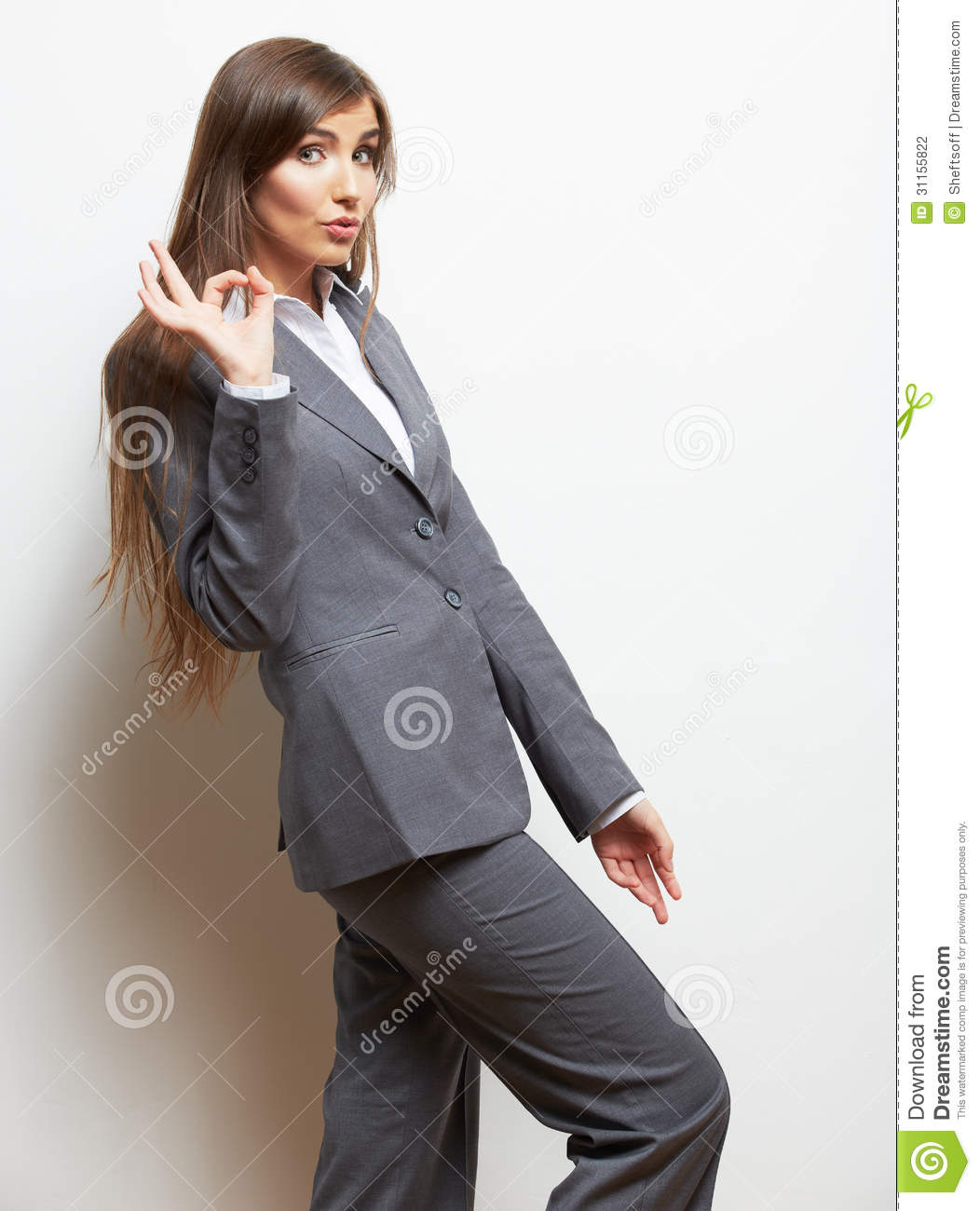 Business Woman Fashion Style Isolated Portrait Female