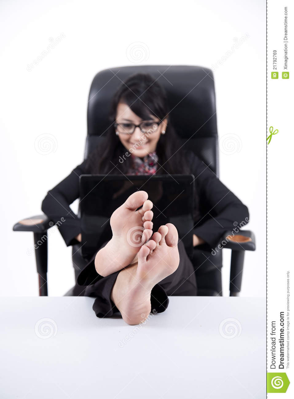 Business Woman With Feet Up On A Table Royalty Free Stock
