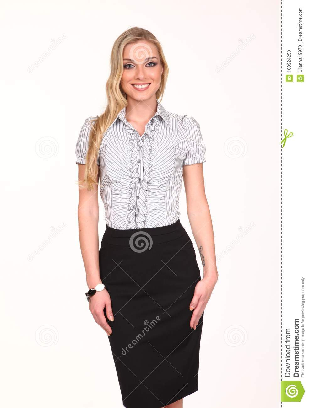 35193bd798c Blond business woman in official short sleeve white shirt black pencil  skirt close up photo isolated on white. More similar stock images