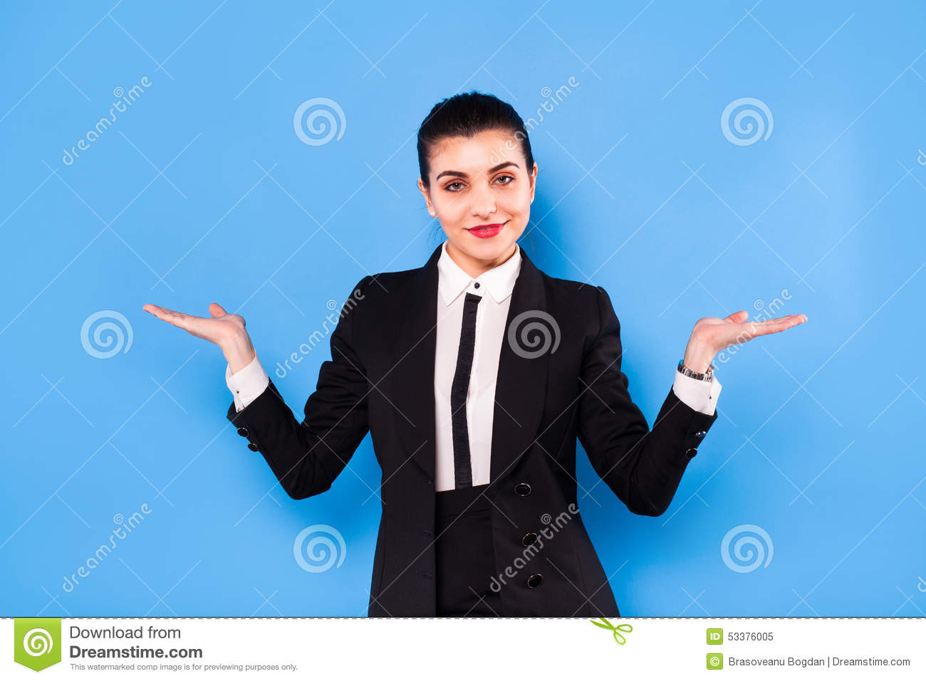 9a5a514618816 Business Woman In Formal Wear On Blue Background Stock Image - Image ...