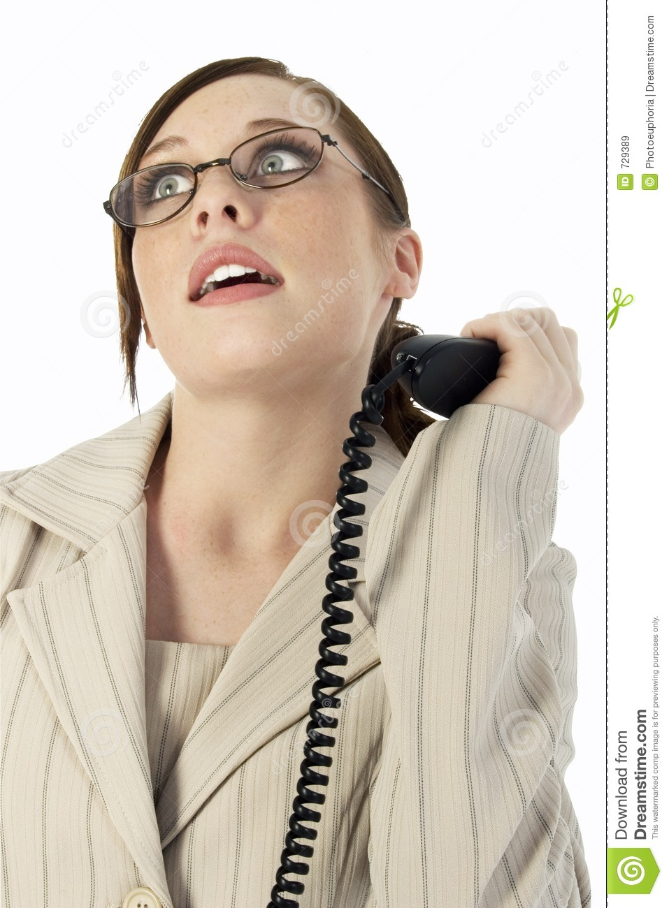 Business Woman Frustrated With Phone Call Stock Image