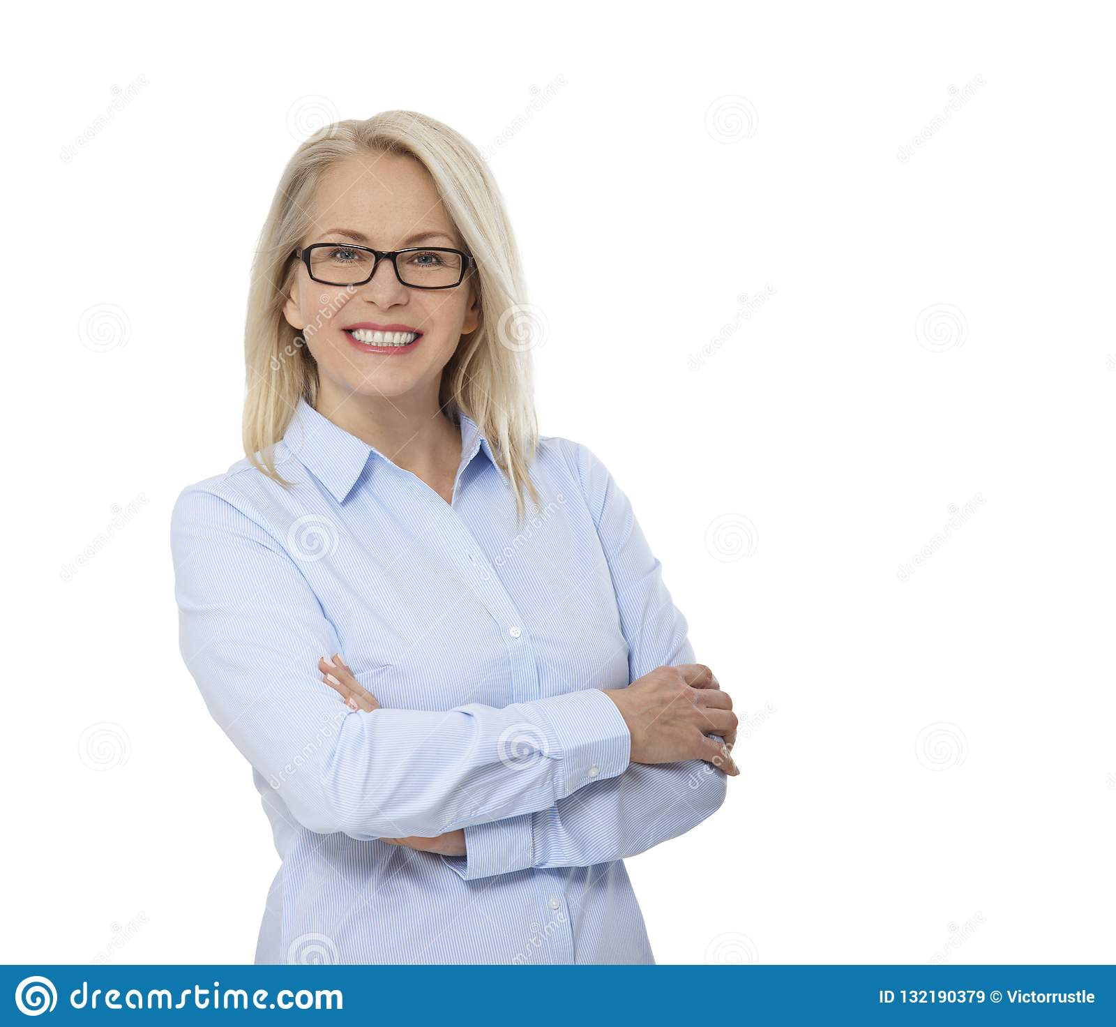 Business woman in glasses and blue shirt isolated on white. Happy pretty women