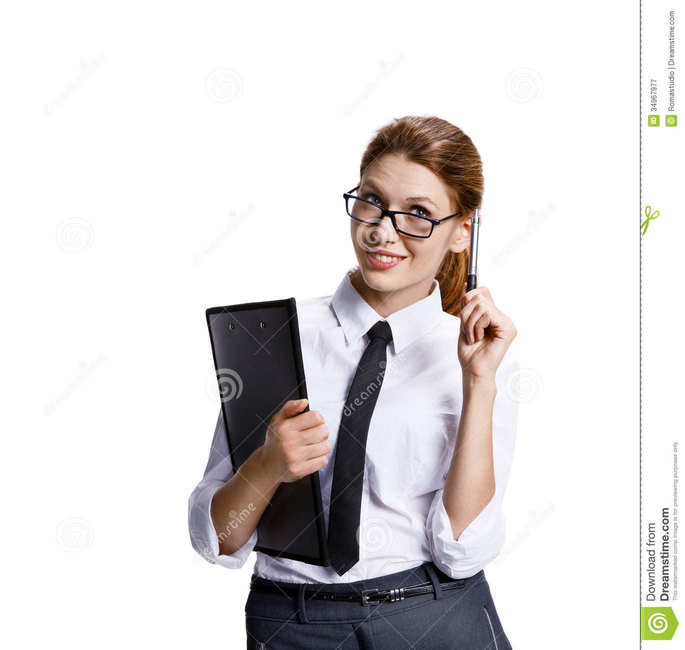 Business woman in glasses with a folder and pen stands