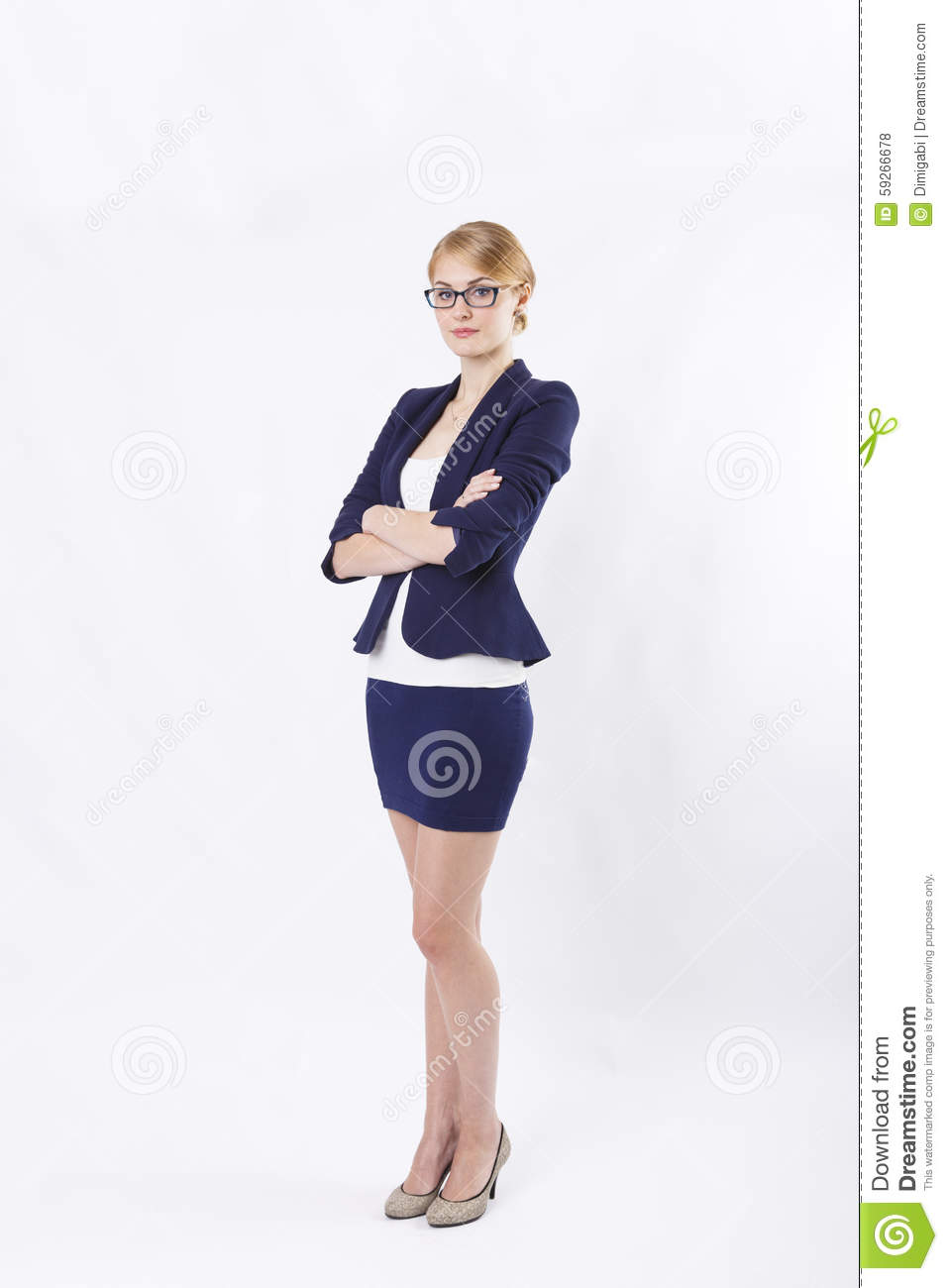 Business Woman With Glasses In Jacket In Skirt And Glasses Holding ...