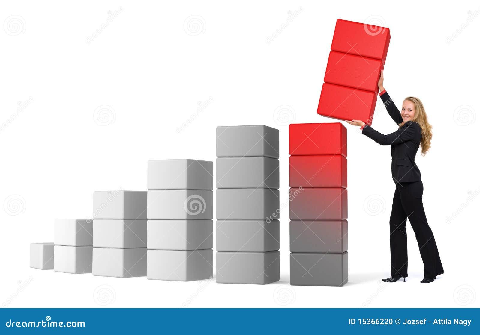 Business woman growing success - 3d graph