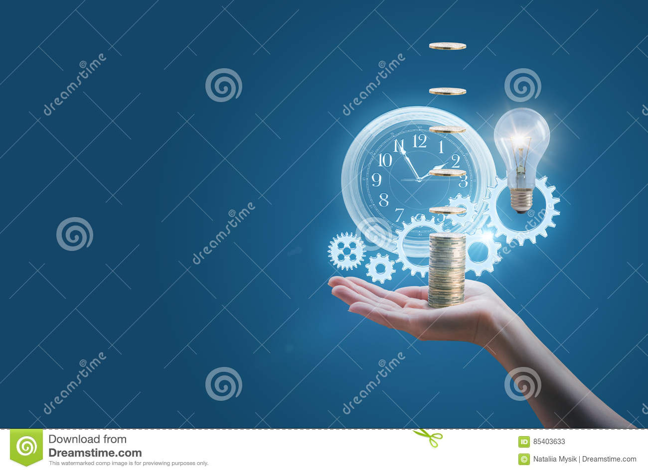 Download Business Woman In The Hand Of A Clock Gears Money And The Lamp Symbolizes The Effective Implementation. Stock Image - Image of element, gear: 85403633
