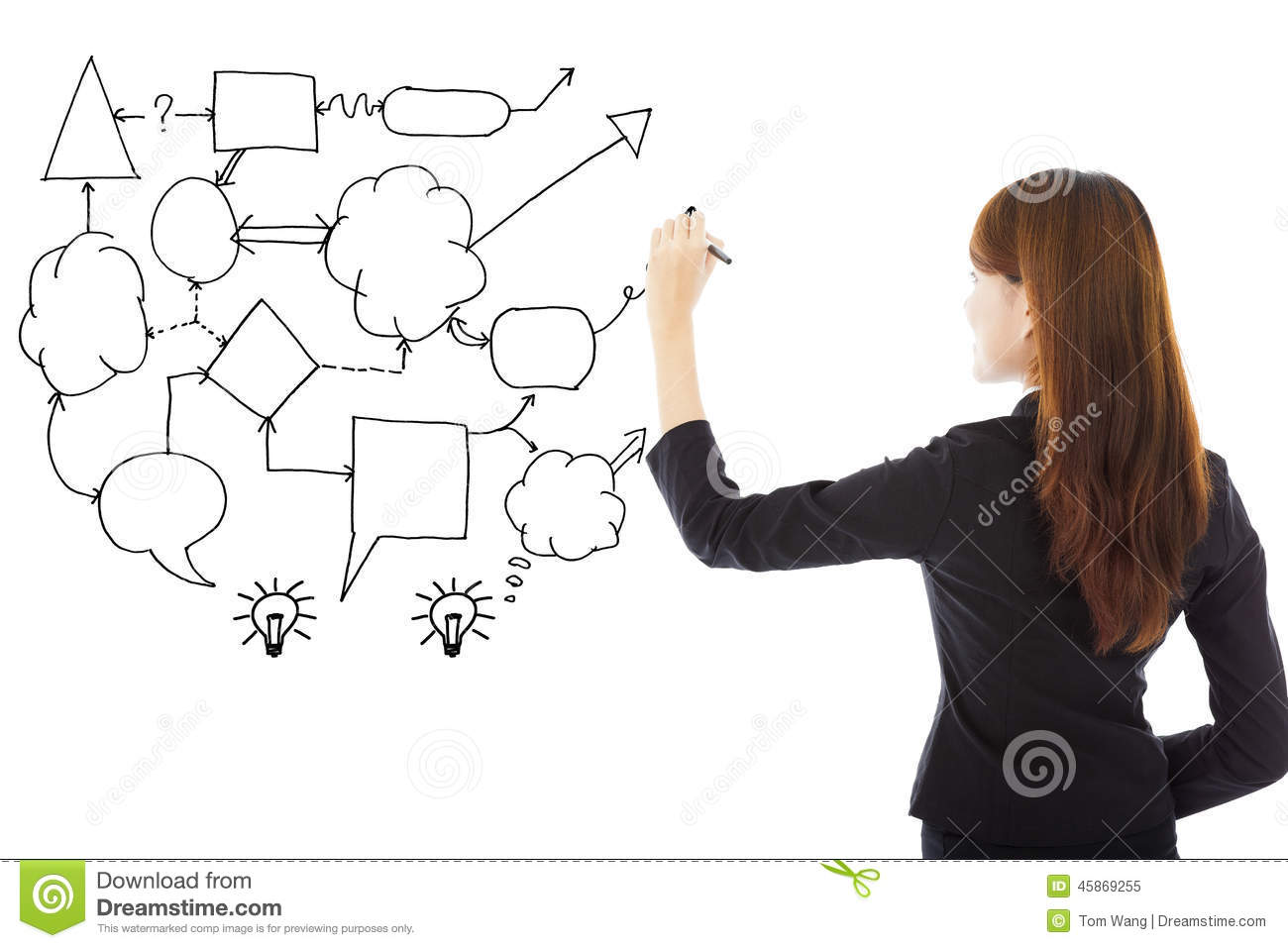 Business woman hand draw idea and analysis concept diagram