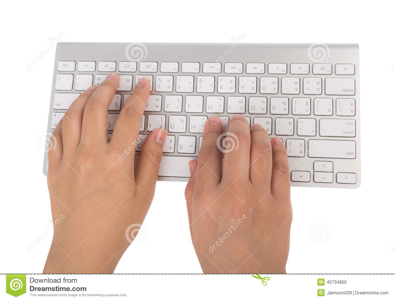 Business woman hand typing on laptop keyboard (with c