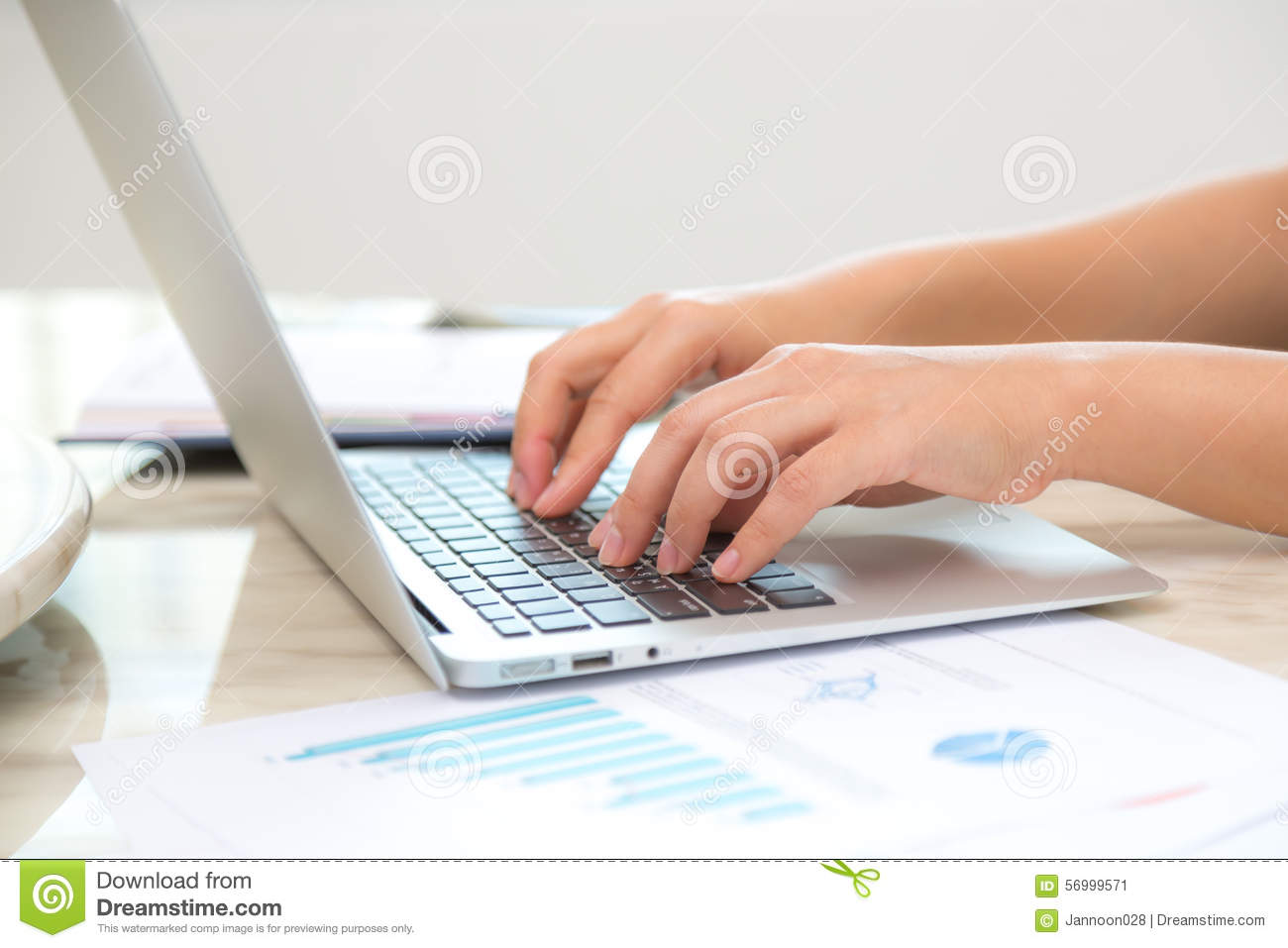 Business Woman Hand Typing On Laptop Keyboard Stock Image Image Of