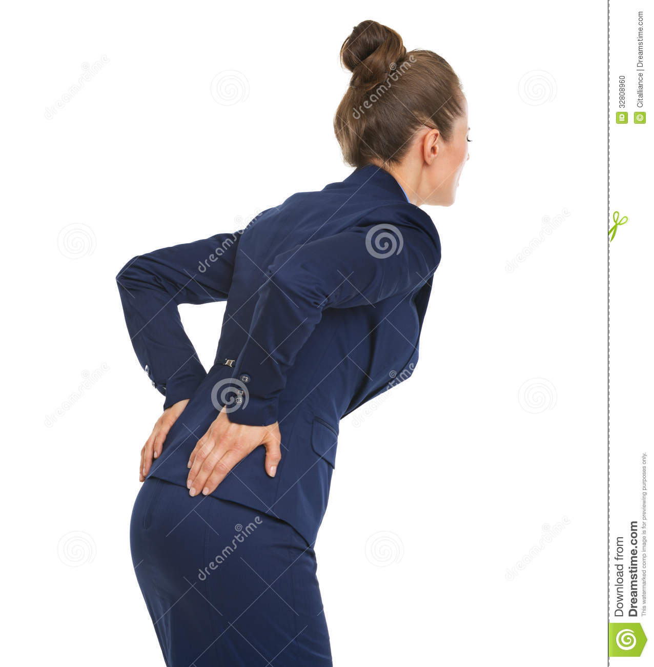 Woman With Back Pain stock photo. Image of hand, colour