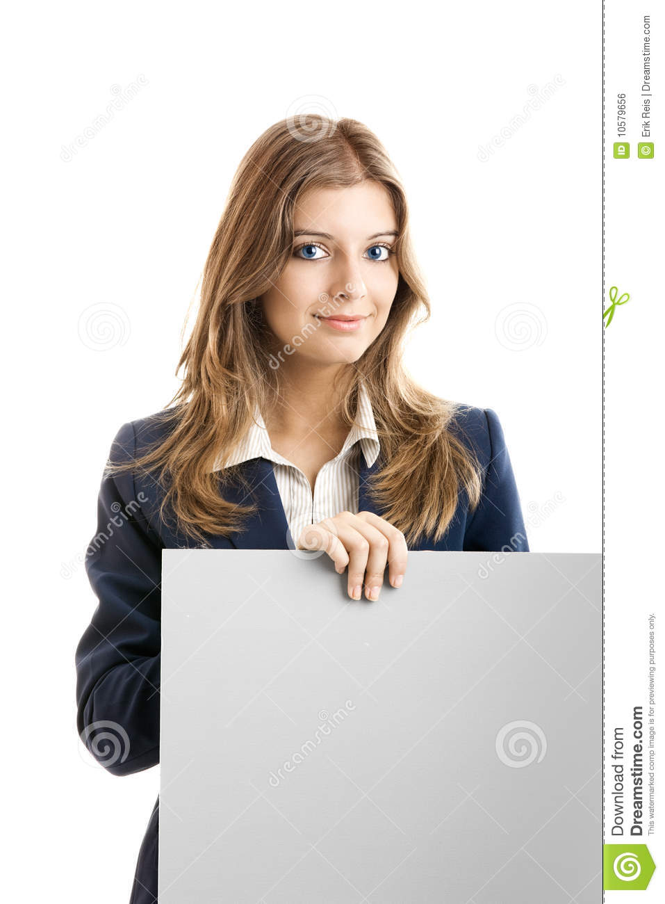 Business Woman holding a billboard