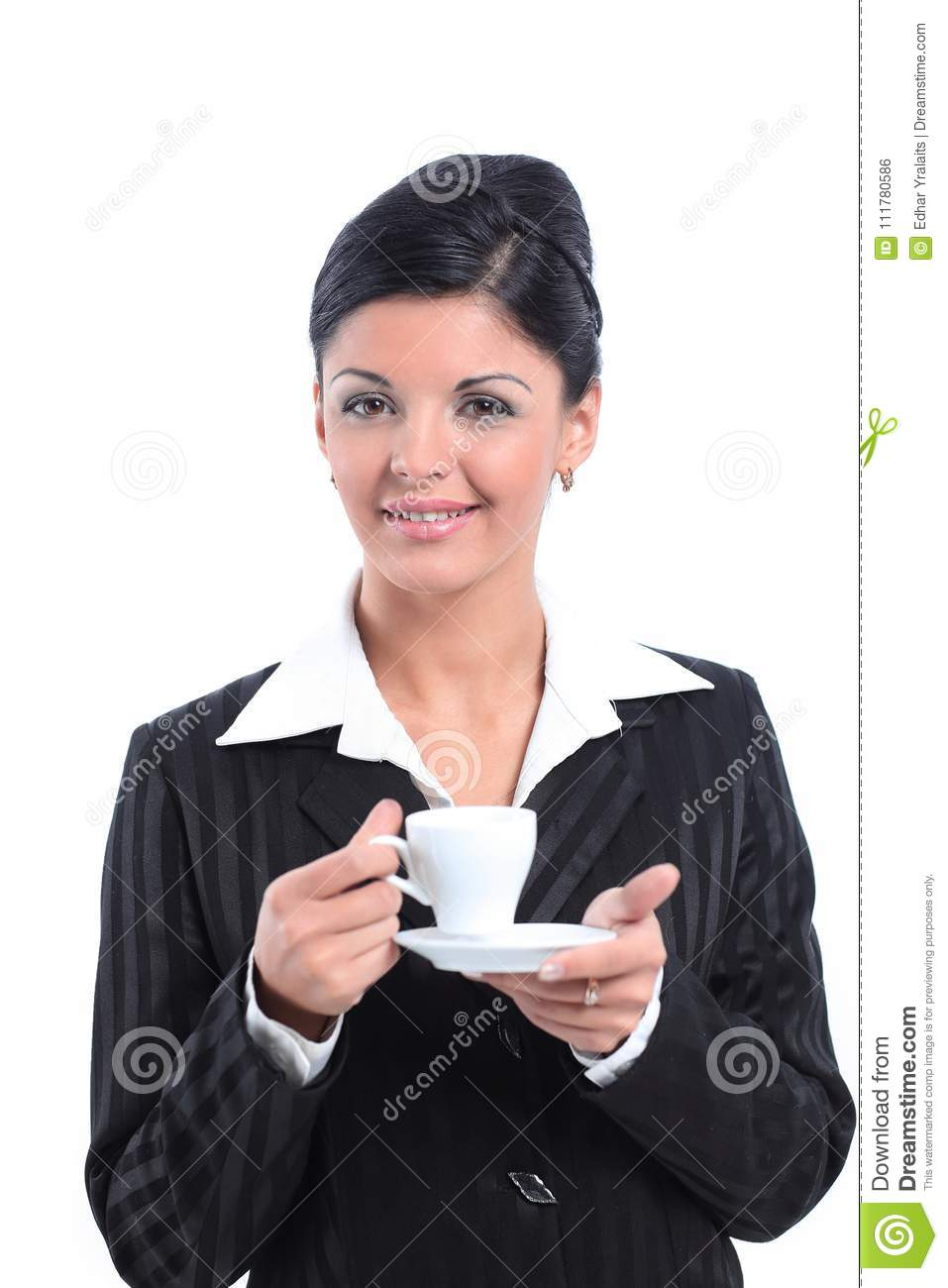 Business woman holding a Cup of tea