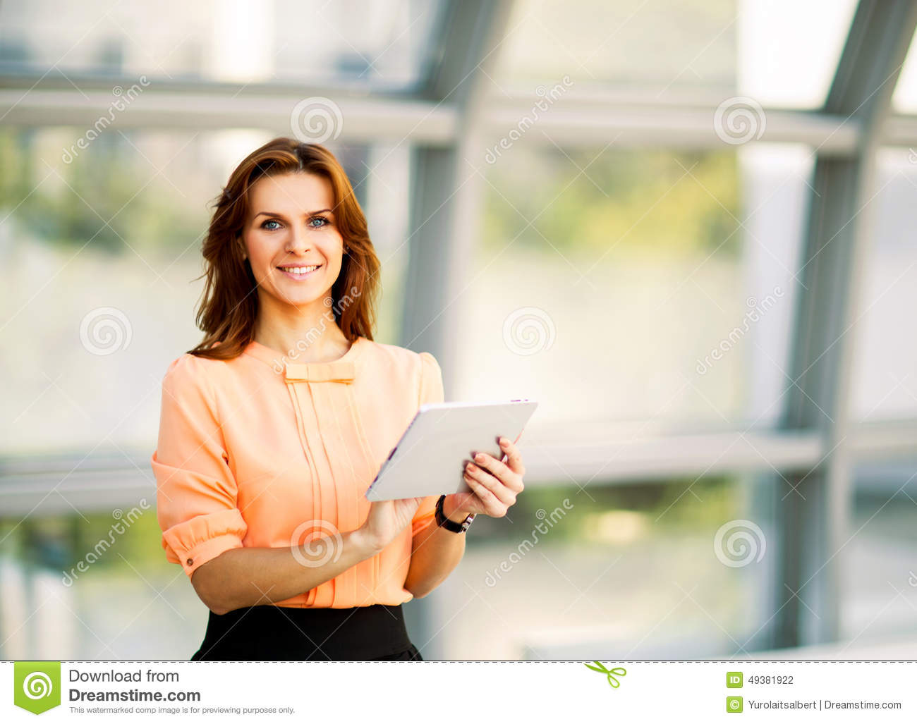 business woman holding digital tablet computer