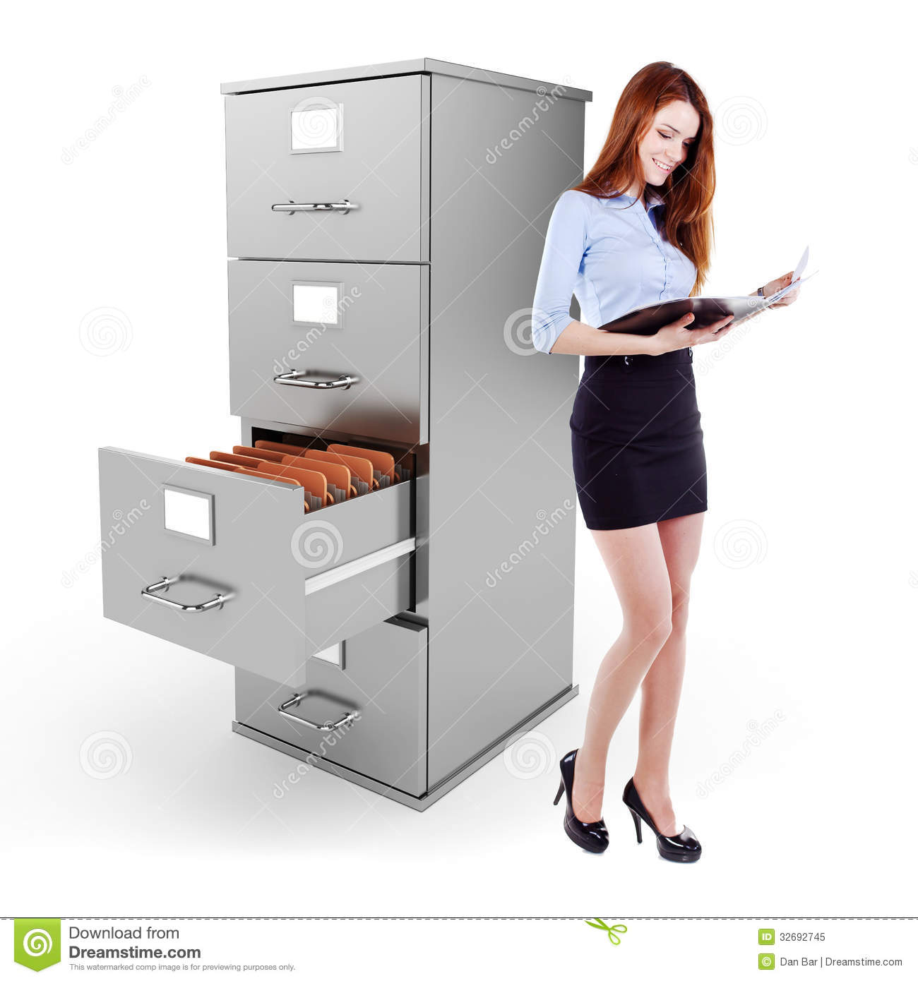 Business Woman Holding A File Standing Near A 3d File Cabinet ...
